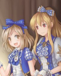 2girls :d bangs blonde_hair blue_ribbon bow empty_eyes gita_(granblue_fantasy) gloves granblue_fantasy hair_between_eyes hair_bow hair_ribbon hand_holding long_hair looking_at_another multiple_girls open_mouth ponytail puffy_short_sleeves puffy_sleeves red_eyes ribbon short_sleeves sidelocks smile superstar_(granblue_fantasy) vest vila white_gloves yellow_eyes