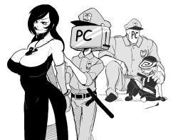 blush breasts cleavage console-tan dreamcast dreamcast-tan hat huge_breasts licking_lips monochrome pc-tan personification police pussy_juice rape