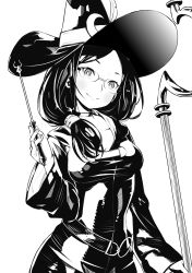 1girl blush breasts broom choker collarbone covered_navel crescent dress fukushima_masayasu glasses greyscale hair_over_shoulder hat hat_feather highres hood little_witch_academia long_hair long_sleeves looking_at_viewer monochrome rimless_glasses robe side_ponytail simple_background smile solo ursula_(little_witch_academia) wand white_background wide_sleeves witch witch_hat