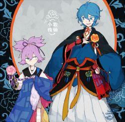 2boys alternate_color blue_eyes blue_hair flower hand_on_hip hand_on_own_chest japanese_clothes kasen_kanesada l_hakase male_focus multiple_boys open_mouth purple_hair sayo_samonji smile touken_ranbu