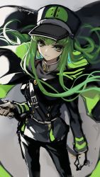 1girl artist_name c.c. cape code_geass cosplay creayus gloves green_hair hat military military_uniform owari_no_seraph solo sword uniform weapon yellow_eyes
