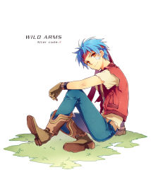 1boy ahoge belt blue_hair brown_eyes coat denim gloves headband jeans pants rody_roughnight shirt short_hair smile solo vest wild_arms wild_arms_1