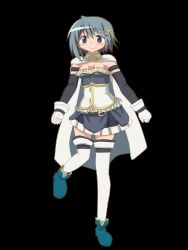 1girl animated animated_gif armband blue_eyes bouncing_breasts breasts cape dancing elbow_gloves full_body full_moon_wo_sagashite gloves hair_ornament hairclip hangaku highres magical_girl mahou_shoujo_madoka_magica mahou_shoujo_madoka_magica_movie miki_sayaka parody short_hair smile solo thighhighs transparent_background white_gloves