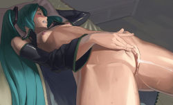 1girl aqua_hair arched_back bare_shoulders blush bottomless clenched_teeth clitoris detached_sleeves erect_clitoris eyes_closed female_ejaculation hatsune_miku long_hair masturbation mokottsu nipples pillow shiny shiny_skin small_breasts solo sweat twintails uncensored vocaloid zipper