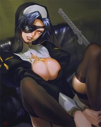 1girl blue_hair braid breasts brown_eyes cleavage_cutout clenched_teeth dutch_angle eyepatch garter_straps gradient_background head_tilt knight_run large_breasts leg_grab legs_up leny_(knight_run) long_hair looking_at_viewer nun parted_lips realistic sitting skindentation solo thighhighs weapon yang-do