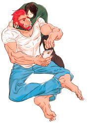 2boys barefoot beard black_hair casual cellphone facial_hair fate/zero fate_(series) ffo1013 hug multiple_boys necktie phone red_hair rider_(fate/zero) smartphone waver_velvet