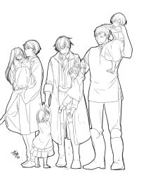 4boys 4girls aku_no_meshitsukai_(vocaloid) aku_no_musume_(vocaloid) akutoku_no_judgement_(vocaloid) artist_name boots brother_and_sister carrying child commentary_request dress father's_day father_and_daughter father_and_son frilled_dress frills grabbing gumi hair_ribbon half-siblings hand_holding hands_on_another's_head hatsune_miku holding ichi_ka judge kagamine_len kagamine_rin kaito king knight leon_(vocaloid) lifting_person long_hair meiko monochrome multiple_boys multiple_girls nemesis_no_juukou_(vocaloid) out_of_frame princess_carry ribbon shirt short_hair shorts siblings signature twins twintails vocaloid when_you_see_it
