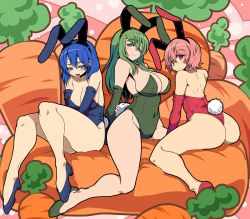 3girls animal_ears ass bare_legs bare_shoulders blue_eyes blue_hair blush breasts bunny_ears bunny_girl bunny_tail bunnysuit carrot cleavage covered_navel curvy detached_sleeves est fake_animal_ears fire_emblem fire_emblem:_monshou_no_nazo fire_emblem_heroes food full_body green_eyes green_hair headband kara_age katua large_breasts long_hair multiple_girls paola pink_eyes pink_hair seductive_smile short_hair siblings sisters sitting smile tail thighs vegetable