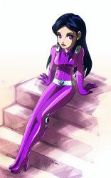 1girl black_hair bodysuit latex latex_suit lips mandy_(totally_spies) purple_eyes totally_spies