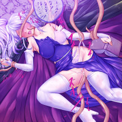 1girl absurdres blindfold boots bra bridal_gauntlets elbow_gloves fire_emblem fire_emblem:_seisen_no_keifu gloves harihisa highres ishtar_(fire_emblem) one_eye_closed panties purple_hair restrained sex solo tentacle thigh_boots thighhighs torn_clothes underwear vaginal