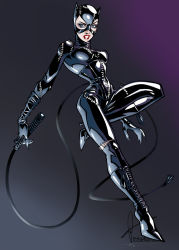 1girl batman_(series) blue_eyes bodysuit boots breasts cat_ears catsuit catwoman corset dc_comics eyeshadow full_body gloves gradient gradient_background high_heel_boots high_heels knee_boots lace-up_boots latex latex_suit leather leather_boots lipstick makeup mask red_lipstick selina_kyle skin_tight solo stitching whip