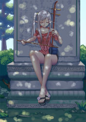 1girl bare_shoulders bow_(instrument) collarbone eyes_closed feet instrument legs legs_crossed long_hair nail_polish original pointy_ears sandals shiraha_(pixiv10239953) short_sleeves shorts side_ponytail silver_hair sitting solo toenail_polish toes