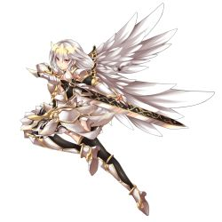 1girl absurdres elsword fi-san highres long_hair orange_eyes solo sword transparent_background weapon white_hair wings