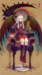 1girl 2014 absurdres albino asllence black_legwear black_wings chair full_body gothic gothic_lolita high_heels highres lolita_fashion long_hair looking_at_viewer mary_janes original red_eyes shoes signature silver_hair sitting skull solo very_long_hair wings