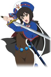 1girl black_hair bob_cut bodysuit brown_eyes cape chloe_valens covered_navel hat holding holding_sword holding_weapon looking_at_viewer official_art short_hair solo sword tales_of_(series) tales_of_legendia tales_of_link weapon