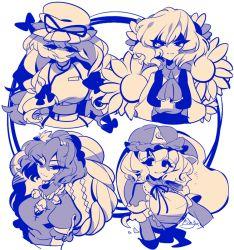 4girls flower karabako kazami_yuuka limited_palette long_hair monochrome multiple_girls rope saigyouji_yuyuko shimenawa short_hair simple_background smile sunflower touhou yakumo_yukari yasaka_kanako