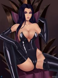 1girl bare_shoulders battletoads black_hair black_legwear breasts bursting_breasts cape cleavage cleavage_cutout collar curvy dark_queen dominatrix elbow_gloves eyeshadow gloves hair_over_one_eye jewelry large_breasts latex latex_gloves leotard lipstick long_hair looking_at_viewer makeup parted_lips rareware ring sitting solo spread_legs