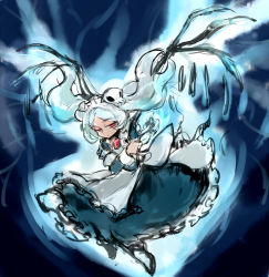 1girl apron bloody_marie_(skullgirls) blue_fire commentary_request fire flying hair_ornament half-closed_eyes hat maid maid_headdress notoro red_eyes silver_hair skull skull_hair_ornament skull_heart skullgirls solo twintails wings