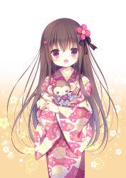 1girl black_hair flower hair_flower hair_ornament hair_ribbon japanese_clothes kimono long_hair looking_at_viewer miyasaka_miyu open_mouth original purple_eyes ribbon solo yukata