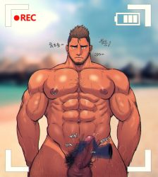 abs ahegao bara beach beard blush body_hair camera erection facial_hair handjob looking_at_viewer male_focus muscle nipples nude outdoors pecs penis penis_grab piercing recording summer sweat testicles toto_(artist)