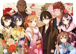 .com 3boys 5girls agil asada_shino asuna_(sao) black_hair brown_hair highres japanese_clothes kimono kirigaya_suguha kirito klein lisbeth long_hair multiple_boys multiple_girls short_hair silica sword_art_online v