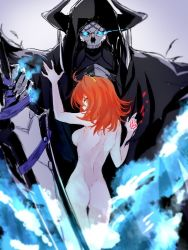 1boy 1girl armor artist_request ass blue_fire breasts cloak command_spell fate/grand_order fate_(series) fire fujimaru_ritsuka_(female) glowing glowing_eyes horns king_hassan_(fate/grand_order) mask nude orange_hair short_hair side_ponytail skull skull_mask weapon yellow_eyes