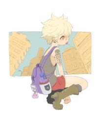 backpack bag blonde_hair boots building candy earrings high_heels jewelry lamppost lollipop meily mouth_hold orange_eyes original outside_border profile short_hair skull solo squatting tank_top tattoo