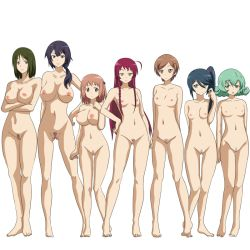 6+girls :d adjusting_hair age_difference ahoge arm_behind_back arms_behind_back bangs barefoot blue_eyes blue_hair blunt_bangs braid breasts brown_eyes brown_hair crossed_arms curly_hair emerada_etuva feet female full_body green_eyes green_hair hair_between_eyes hair_ornament hair_over_shoulder hair_ribbon hairclip hand_on_hip hand_on_own_chest hataraku_maou-sama! kamazuki_suzuno kiro_kiiro kisaki_mayumi large_breasts legs light_smile lineup long_hair low_ponytail mizushima_yuki multiple_girls navel nipples nude open_mouth parted_bangs ponytail pubic_hair purple_hair pussy red_hair ribbon sasaki_chiho scrunchie short_hair side_braid side_ponytail simple_background small_breasts smile standing suzuki_rika_(hataraku_maou-sama!) swept_bangs toes two_side_up uncensored white_background yellow_eyes yusa_emi