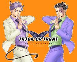 2boys black_hair demon_horns demon_tail dual_persona formal frankenstein's_monster halloween horns jojo_no_kimyou_na_bouken kira_yoshikage multiple_boys necktie purple_hair rozarita stitches suit tail