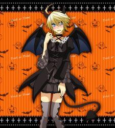 1girl bat_wings blue_eyes blush eleonore_kliesen gothic_lolita halloween horns ootori_sen_na_gatsu tail tekken thighhighs