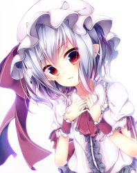 1girl arm_ribbon ascot ayatan-kiri blouse hands_on_own_chest hat hat_ribbon lace mob_cap multicolored_eyes pointy_ears puffy_short_sleeves puffy_sleeves red_eyes red_ribbon remilia_scarlet ribbon short_hair short_sleeves silver_hair slit_pupils solo touhou white_background wrist_cuffs