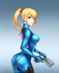 1girl ass bangs blonde_hair bodysuit breasts burbur butt_crack erect_nipples green_eyes gun huge_ass impossible_clothes large_breasts latex looking_at_viewer looking_back metroid mole mole_under_mouth nintendo patreon ponytail samus_aran shiny shiny_clothes sideboob skin_tight smile solo spandex weapon zero_suit