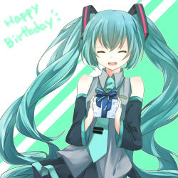 1girl aqua_hair detached_sleeves eyes_closed gift happy_birthday hatsune_miku long_hair necktie open_mouth skirt solo twintails very_long_hair vocaloid