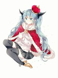 1girl aqua_eyes aqua_hair bell crown eyelashes gocoli hair_ornament hatsune_miku horns long_hair royal_robe shoes sitting skirt solo the_beast_(vocaloid) thighhighs twintails very_long_hair vocaloid white_background