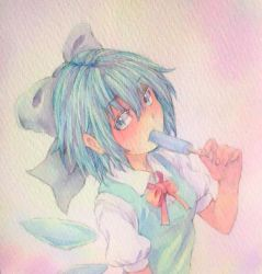 1girl blue_eyes blue_hair bow bowtie bust cirno eating hair_bow highres ice ice_wings looking_at_viewer pink_background popsicle puffy_short_sleeves puffy_sleeves short_hair short_sleeves solo touhou traditional_media watercolor_(medium) wings yuyu_(00365676)