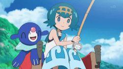 1boy 1girl animated animated_gif blush laughing pokemon pokemon_(anime) pokemon_sm_(anime) popplio satoshi_(pokemon) sharpedo suiren_(pokemon) water