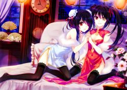 2girls absurdres bed black_hair black_legwear chinese_clothes date_a_live dual_persona hair_over_one_eye heterochromia highres multiple_girls red_eyes tagme thighhighs tokisaki_kurumi twintails yellow_eyes