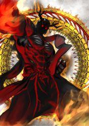 1boy abs antlers glowing glowing_eyes highres horns jintetsu muscle nara_mascot red_eyes sento-kun skull