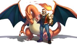 1boy baseball_cap beard black_shirt black_shoes blue_eyes blue_pants bracelet charizard claws collarbone denim facial_hair fangs fiery_tail full_body hand_in_pocket hat highres holding holding_poke_ball jacket jeans jewelry muscle old_man older open_clothes open_jacket pants poke_ball pokemon pokemon_(creature) pokemon_(game) pokemon_gsc red_(pokemon) red_hat red_jacket shirt shoes short_sleeves silver_hair simple_background standing t-shirt teeth white_background yapo_(croquis_side)