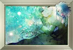 1girl blonde_hair doll dress eyes_closed green_dress ib long_hair mary_(ib) picture_frame souno_kazuki stuffed_toy tears