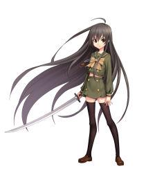 1girl black_hair brown_eyes guang_yiren long_hair school_uniform serafuku shakugan_no_shana shana standing sword thighhighs weapon