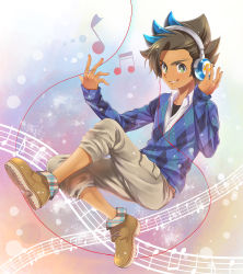 1boy absurdres argyle beamed_semiquavers blue_hair brown_hair headphones highres inazuma_eleven_(series) inazuma_eleven_go inazuma_eleven_go_galaxy male_focus matatagi_hayato matsumoto_achi multicolored_hair musical_note quaver solo staff_(music) two-tone_hair