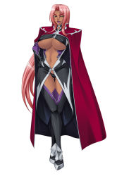 1girl areola_slip areolae black_panties boots breasts cape character_sheet dark_skin elbow_gloves erect_nipples expressionless female floating_hair full_body game_cg gloves hair_intakes hand_on_hip hands head_tilt holding ingrid_(taimanin_asagi) kagami_hirotaka large_breasts leaning_forward legs legs_crossed lilith-soft lipstick long_hair looking_at_viewer makeup mole navel no_bra panties parted_lips pink_hair shiny shiny_clothes shiny_hair shiny_skin simple_background standing standing_on_one_leg taimanin_(series) taimanin_asagi taimanin_asagi_3 taimanin_murasaki thigh_boots thigh_gap thighhighs thighs underboob underwear very_long_hair white_background yellow_eyes