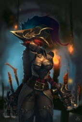 1girl belt braid breasts cleavage corset dgatrick dual_wielding fire gun heart_necklace league_of_legends looking_at_viewer mole mole_on_breast mole_under_mouth pirate_hat red_hair sarah_fortune shadow smile smoking_gun solo