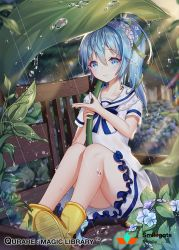 1girl bench blue_eyes blue_hair blush boots choker collarbone company_name copyright_name eyebrows_visible_through_hair flower green_ribbon hair_ribbon hydrangea leaf_umbrella long_hair looking_at_viewer ponytail qurare_magic_library rain ribbon short_sleeves sitting snow_is solo water_drop yellow_boots