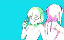 2girls akemi_homura back-to-back dddoochi1 hair_ornament hairband hairclip long_hair mahou_shoujo_madoka_magica miki_sayaka multiple_girls playing_with_another's_hair shirt short_hair sitting tank_top watch