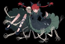 1girl animal_ears black_background braid cat_ears dress extra_ears green_dress juliet_sleeves kaenbyou_rin long_sleeves marimo_tarou neck_ruff petticoat puffy_sleeves red_eyes red_hair simple_background skeleton slit_pupils solo touhou twin_braids upskirt