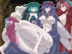 1boy 3girls anal ass barefoot beelzebub blue_eyes blue_hair breasts brown_hair censored egg_laying extra_breasts green_hair insect_girl large_breasts luka_(mon-musu_quest!) mon-musu_quest! monster_girl multi_breast multiple_girls oviposition penis pink_eyes pink_hair purple_hair rape sex hetero tentacle tentacles_on_male wings