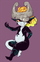 1girl big_belly fang grin helmet imp long_hair medo_kyun midna navel neon_trim no_nipples nude one_eye_covered orange_hair pointy_ears pregnant red_eyes small_breasts smile solo the_legend_of_zelda twilight_princess yellow_sclera