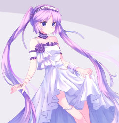 1girl bangs bare_shoulders blush breasts choker closed_mouth cowboy_shot dress euryale fate/grand_order fate/hollow_ataraxia fate_(series) frilled_choker frills hairband highres jewelry lolita_hairband long_hair looking_at_viewer parted_bangs purple_eyes purple_hair small_breasts solo twintails very_long_hair white_dress yanaki_(yngaailg)